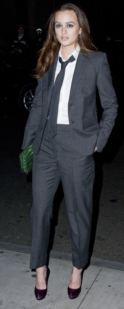 Leighton Meester in what looks like a full on mens suit